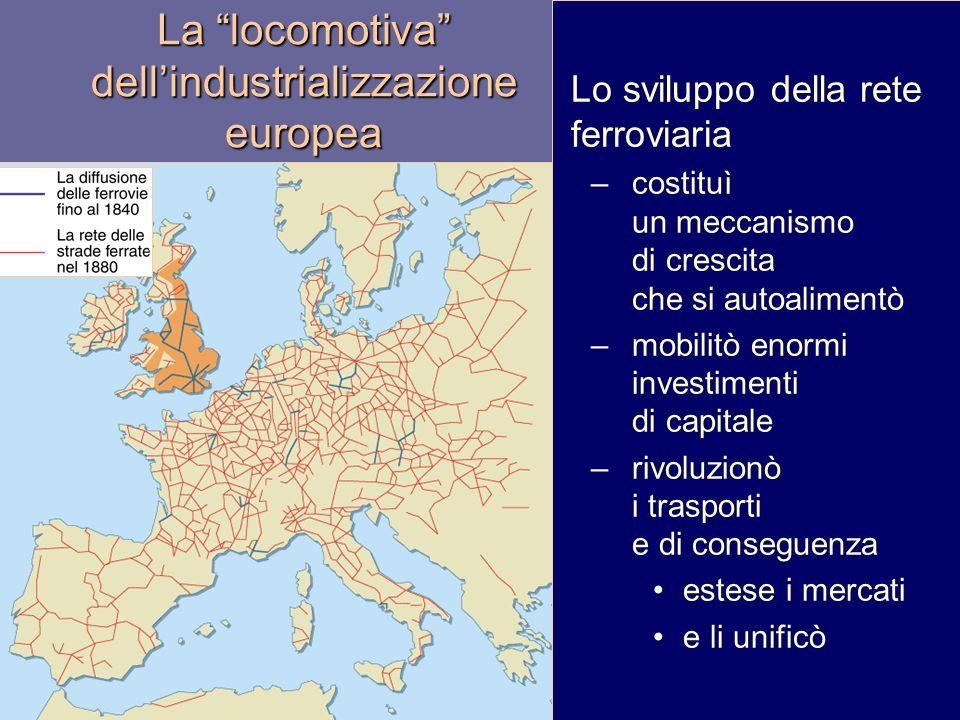 La locomotiva dellindustrializzazione europea Lo sviluppo della rete ferroviaria –costituì un meccanismo di crescita che si autoalimentò –mobilitò enormi investimenti di capitale –rivoluzionò i trasporti e di conseguenza estese i mercati e li unificò