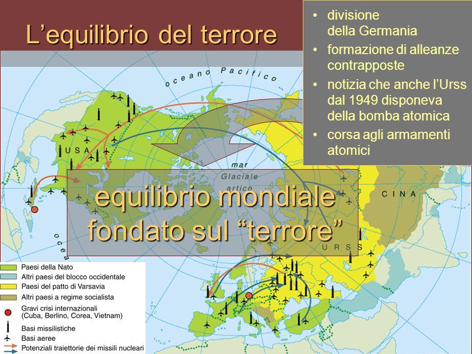 Lequilibrio del terrore equilibrio mondiale fondato sul terrore divisione della Germania formazione di alleanze contrapposte notizia che anche lUrss d
