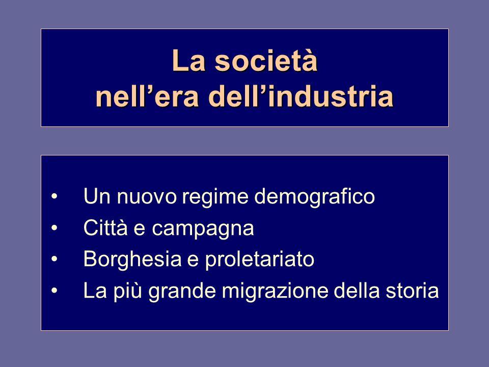 La società nellera dellindustria Un nuovo regime demografico Città e campagna Borghesia e proletariato La più grande migrazione della storia