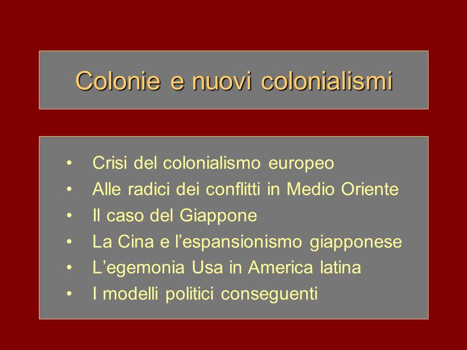 Colonie e nuovi colonialismi Crisi del colonialismo europeo Alle radici dei conflitti in Medio Oriente Il caso del Giappone La Cina e lespansionismo g