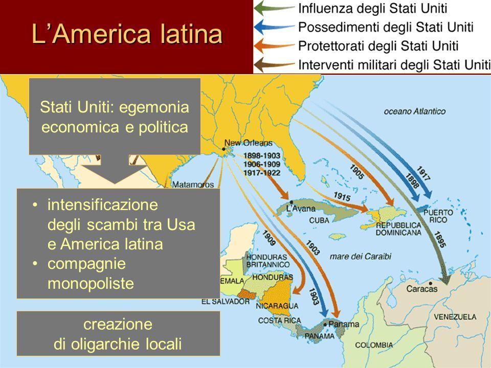 Modelli politici conseguenti in America latina crisi economiche conflitti sociali instabilità politica Regimi populistici autoritari Rivoluzione democratica in Messico Sviluppo economico: basato sullesportazione controllato da capitali stranieri