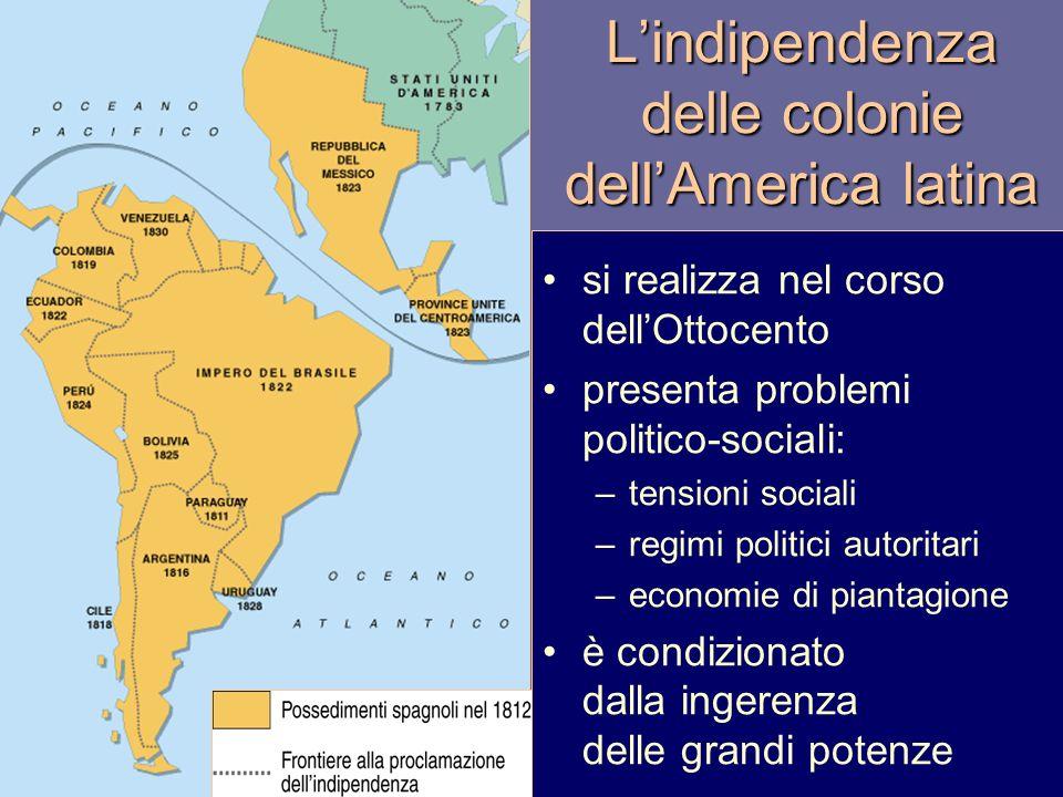 Lindipendenza delle colonie dellAmerica latina si realizza nel corso dellOttocento presenta problemi politico-sociali: –tensioni sociali –regimi polit