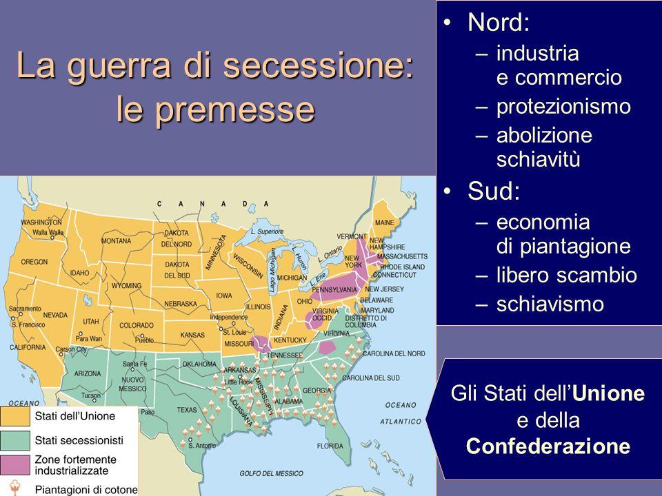 La guerra di secessione: le premesse Nord: –industria e commercio –protezionismo –abolizione schiavitù Sud: –economia di piantagione –libero scambio –