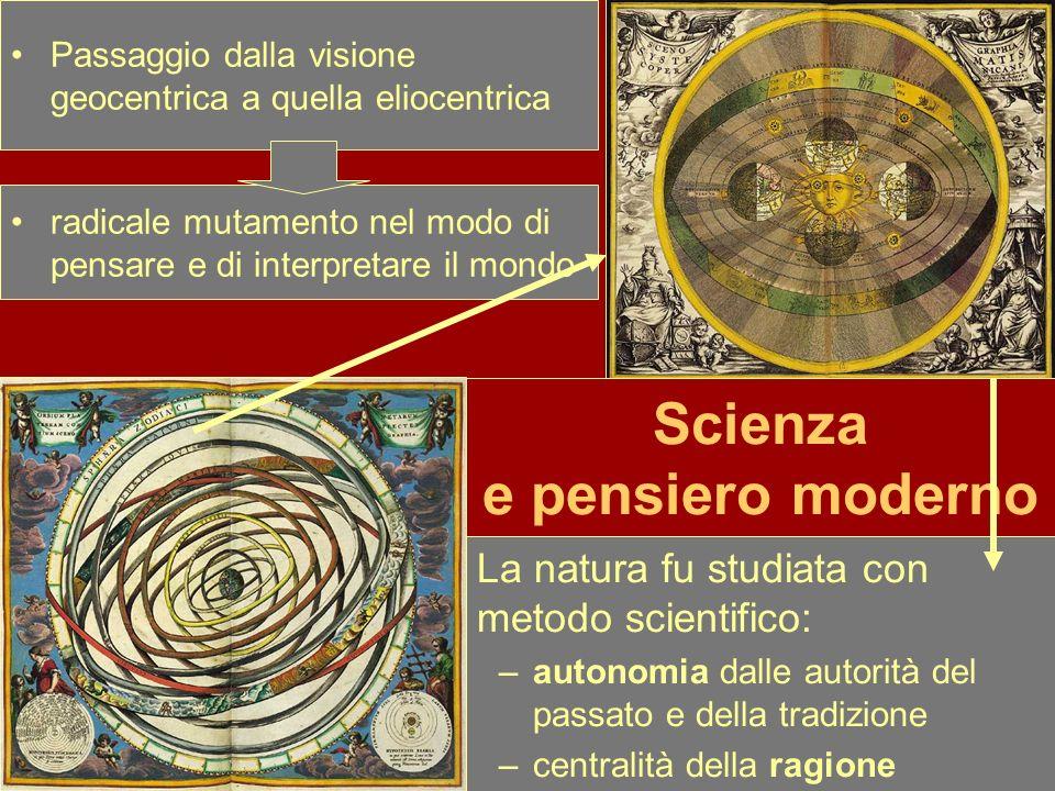 La natura fu studiata con metodo scientifico: –autonomia dalle autorità del passato e della tradizione –centralità della ragione Passaggio dalla visio