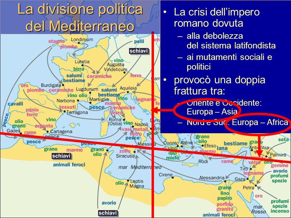 La divisione politica del Mediterraneo La crisi dellimpero romano dovuta –alla debolezza del sistema latifondista –ai mutamenti sociali e politici provocò una doppia frattura tra: –Oriente e Occidente: Europa – Asia –Nord e Sud: Europa – Africa