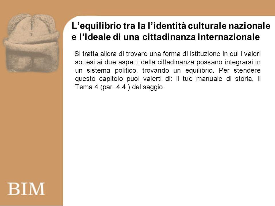 Lequilibrio tra la lidentità culturale nazionale e lideale di una cittadinanza internazionale Si tratta allora di trovare una forma di istituzione in