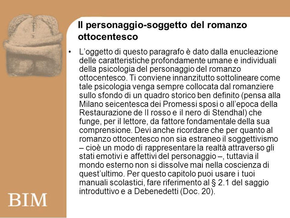 Il personaggio-soggetto del romanzo ottocentesco Loggetto di questo paragrafo è dato dalla enucleazione delle caratteristiche profondamente umane e individuali della psicologia del personaggio del romanzo ottocentesco.