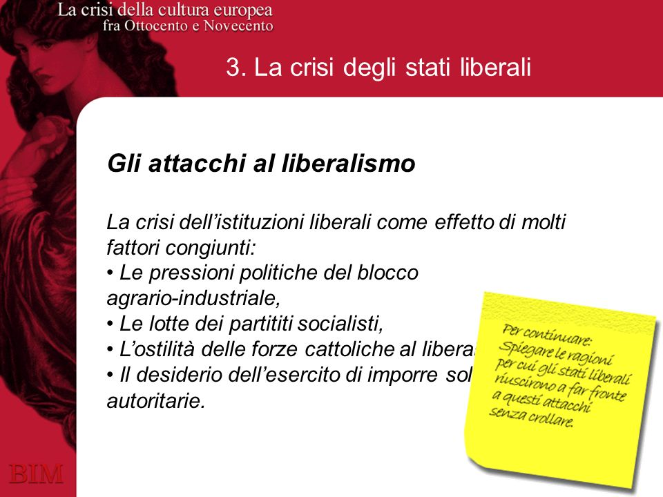 3. La crisi degli stati liberali Gli attacchi al liberalismo La crisi dellistituzioni liberali come effetto di molti fattori congiunti: Le pressioni p