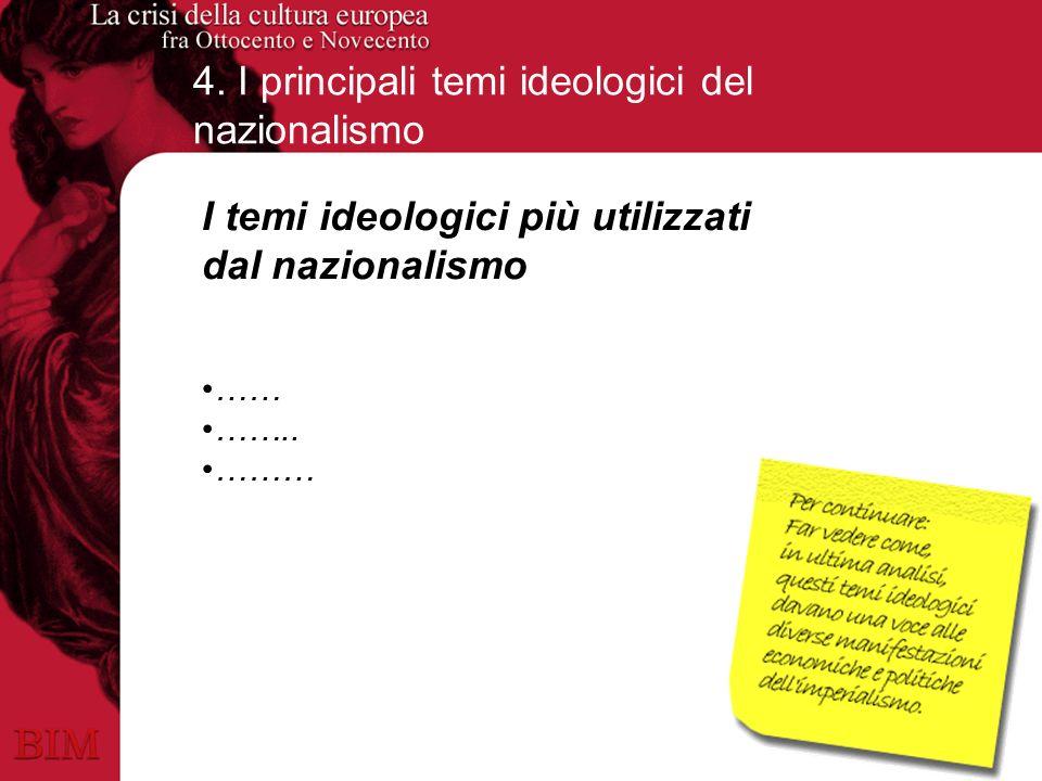 4. I principali temi ideologici del nazionalismo I temi ideologici più utilizzati dal nazionalismo …… …….. ………