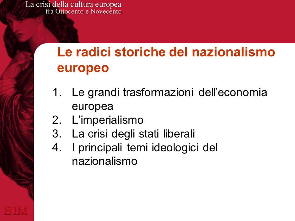 Le radici storiche del nazionalismo europeo 1.Le grandi trasformazioni delleconomia europea 2.Limperialismo 3.La crisi degli stati liberali 4.I principali temi ideologici del nazionalismo