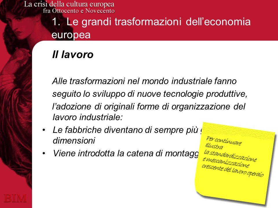 1. Le grandi trasformazioni delleconomia europea Il lavoro Alle trasformazioni nel mondo industriale fanno seguito lo sviluppo di nuove tecnologie pro
