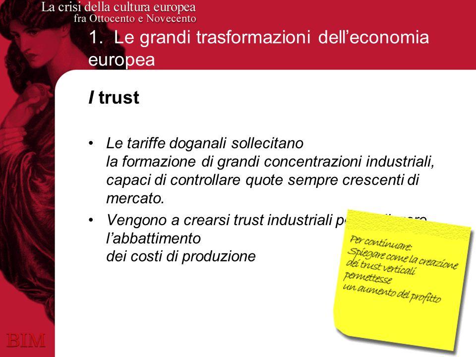 1. Le grandi trasformazioni delleconomia europea I trust Le tariffe doganali sollecitano la formazione di grandi concentrazioni industriali, capaci di