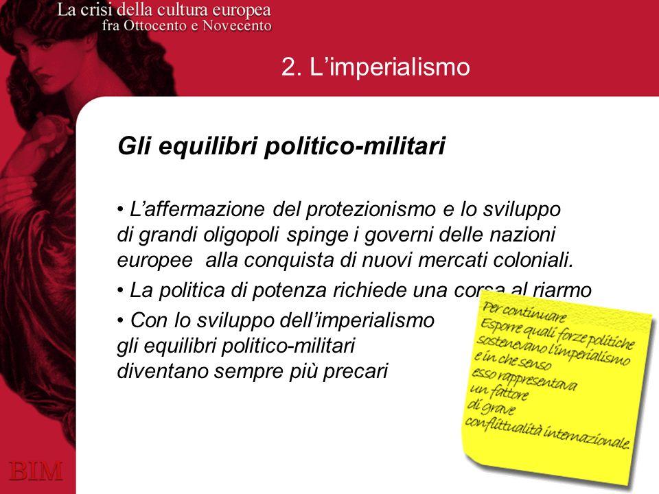 2. Limperialismo Gli equilibri politico-militari Laffermazione del protezionismo e lo sviluppo di grandi oligopoli spinge i governi delle nazioni euro