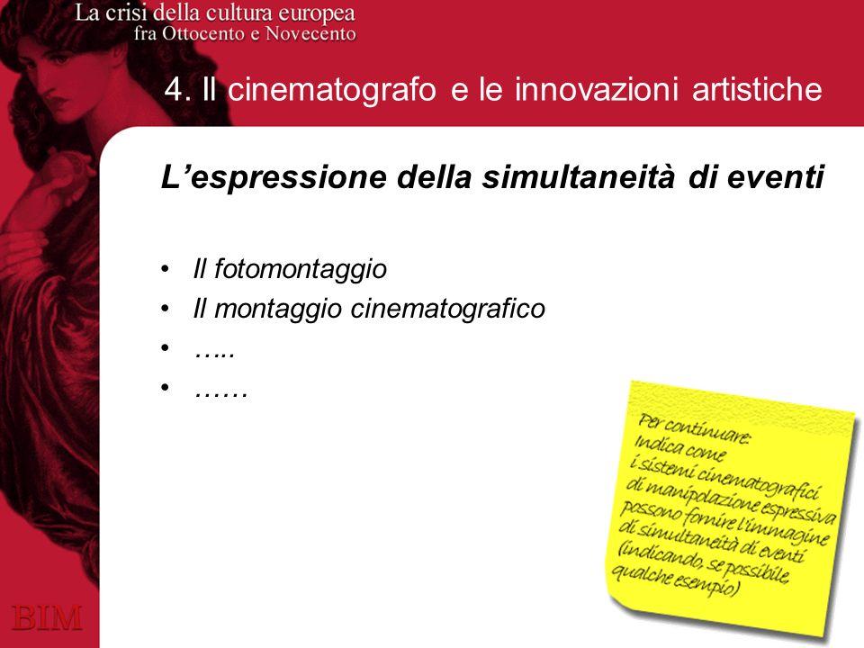 4. Il cinematografo e le innovazioni artistiche Lespressione della simultaneità di eventi Il fotomontaggio Il montaggio cinematografico ….. ……