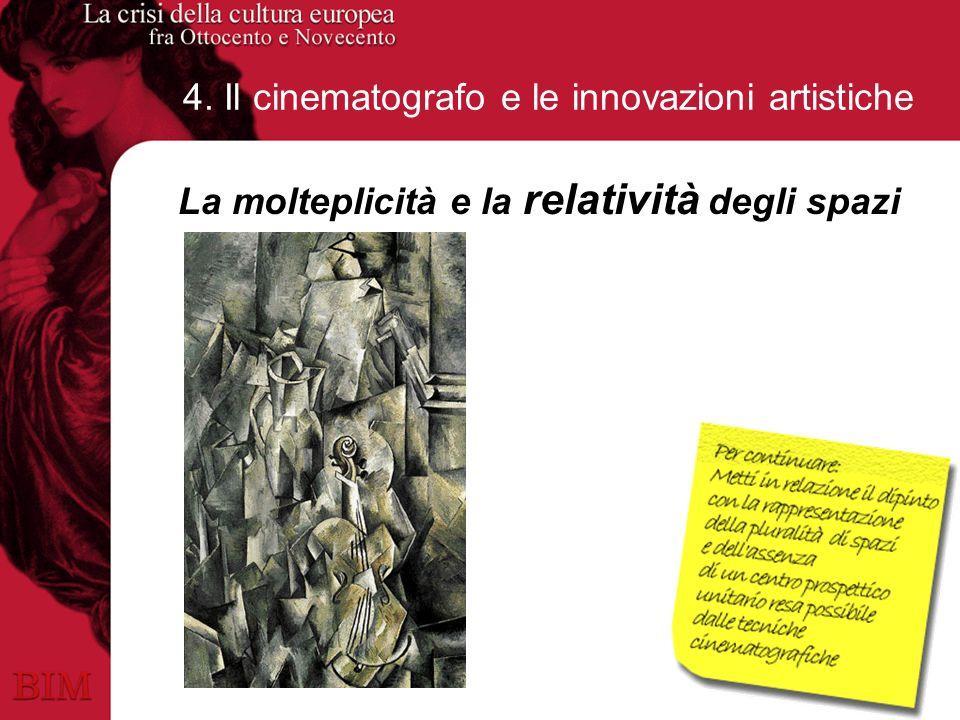 4. Il cinematografo e le innovazioni artistiche La molteplicità e la relatività degli spazi