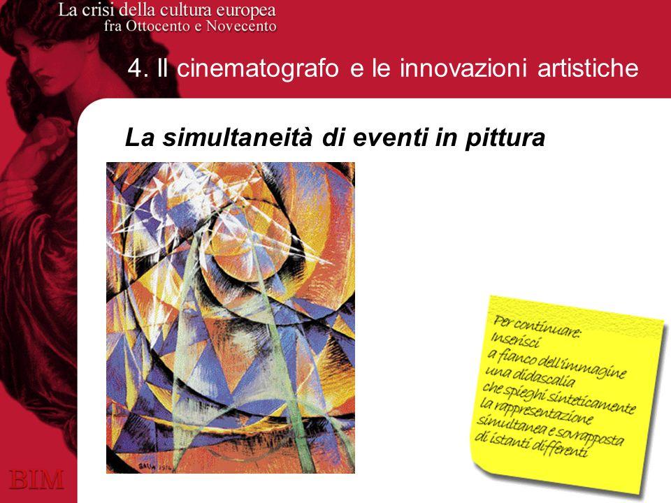 4. Il cinematografo e le innovazioni artistiche La simultaneità di eventi in pittura