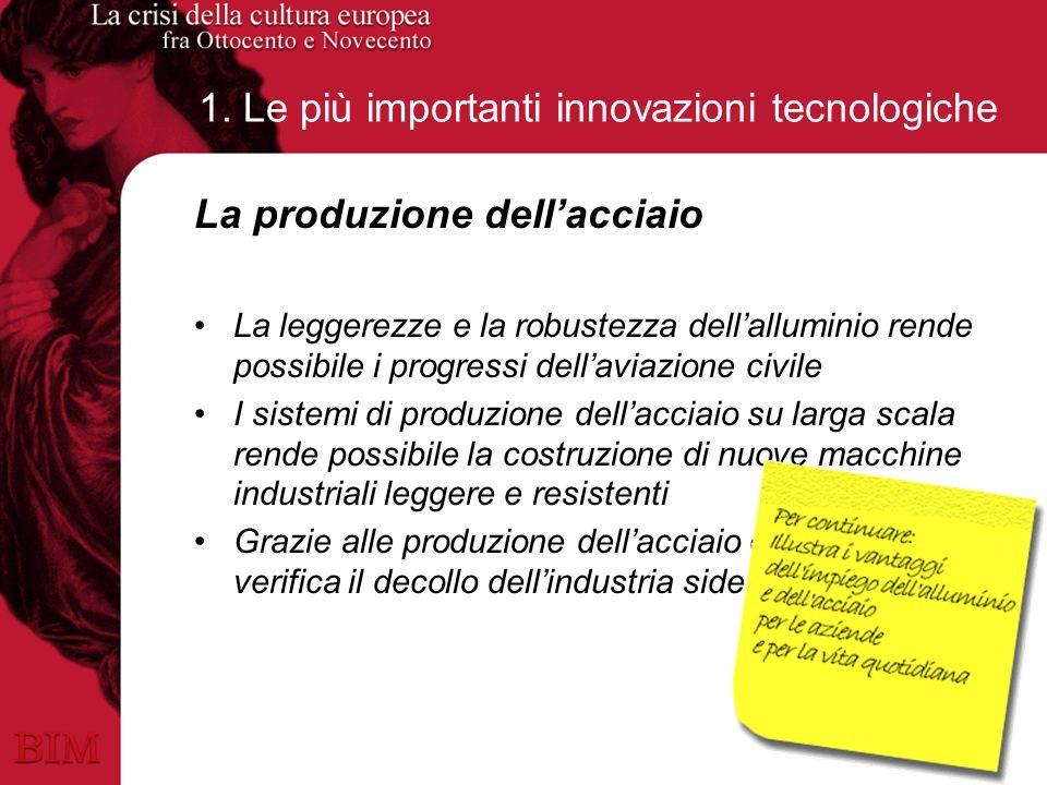1. Le più importanti innovazioni tecnologiche La produzione dellacciaio La leggerezze e la robustezza dellalluminio rende possibile i progressi dellav