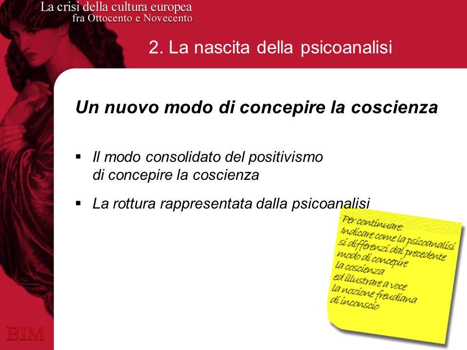 2. La nascita della psicoanalisi Un nuovo modo di concepire la coscienza Il modo consolidato del positivismo di concepire la coscienza La rottura rapp