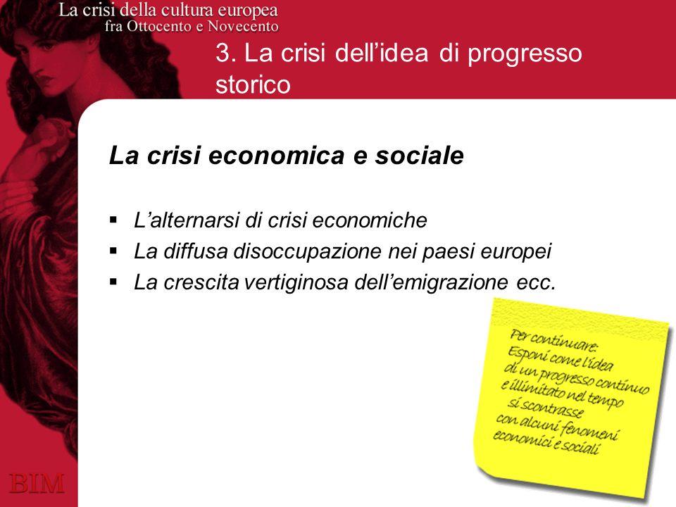 3. La crisi dellidea di progresso storico La crisi economica e sociale Lalternarsi di crisi economiche La diffusa disoccupazione nei paesi europei La