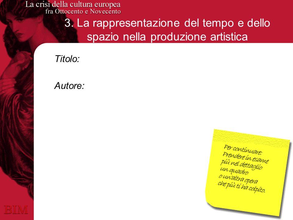 3. La rappresentazione del tempo e dello spazio nella produzione artistica Titolo: Autore: