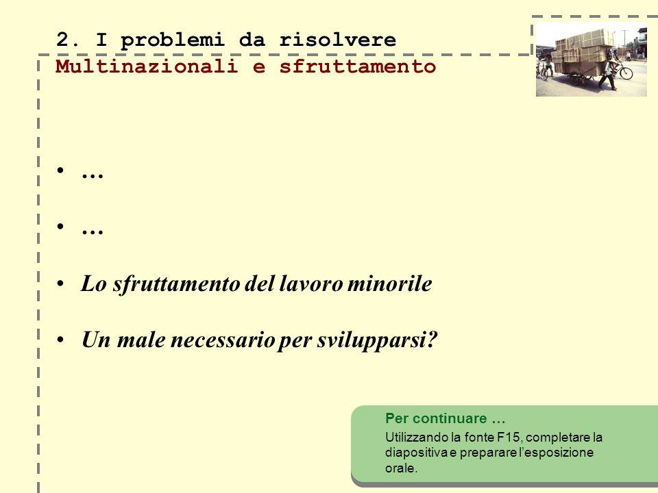 2. I problemi da risolvere 2. I problemi da risolvere Multinazionali e sfruttamento … … Lo sfruttamento del lavoro minorile Un male necessario per svi
