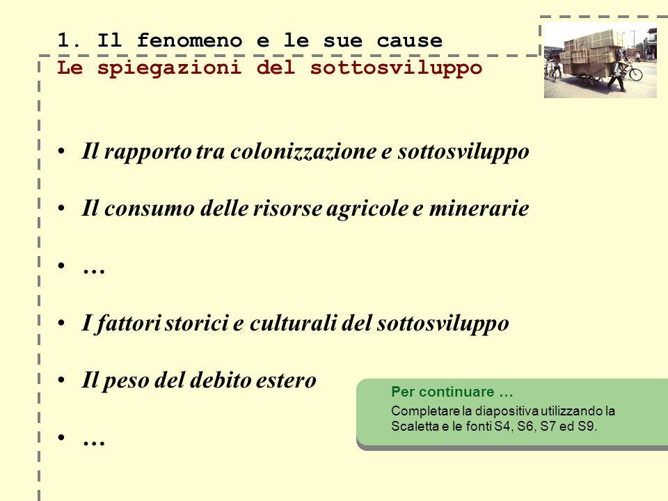 1. Il fenomeno e le sue cause 1. Il fenomeno e le sue cause Le spiegazioni del sottosviluppo Il rapporto tra colonizzazione e sottosviluppo Il consumo