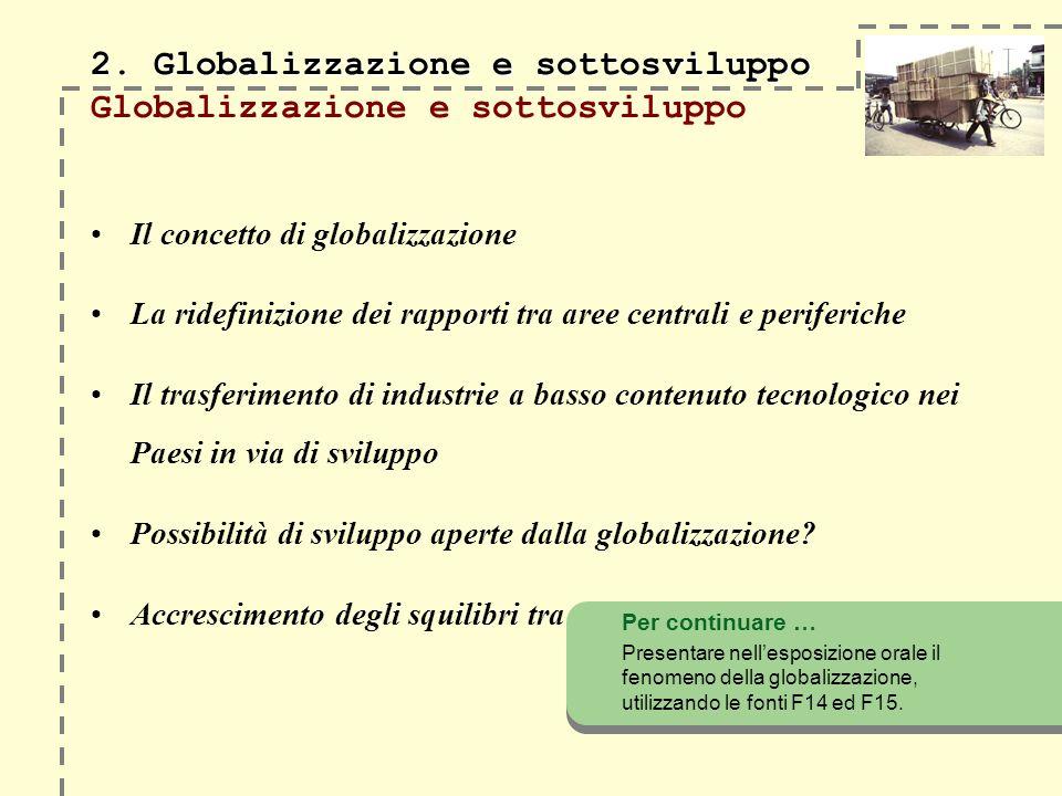 2. Globalizzazione e sottosviluppo 2. Globalizzazione e sottosviluppo Globalizzazione e sottosviluppo Il concetto di globalizzazione La ridefinizione