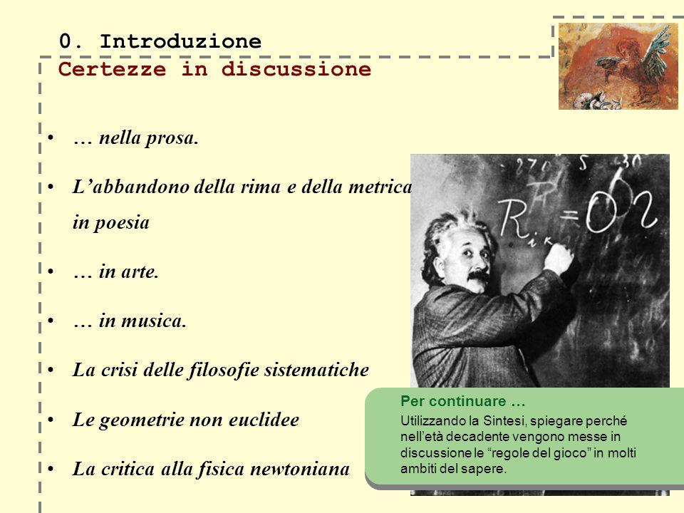0. Introduzione 0. Introduzione Certezze in discussione … nella prosa. Labbandono della rima e della metrica in poesia … in arte. … in musica. La cris