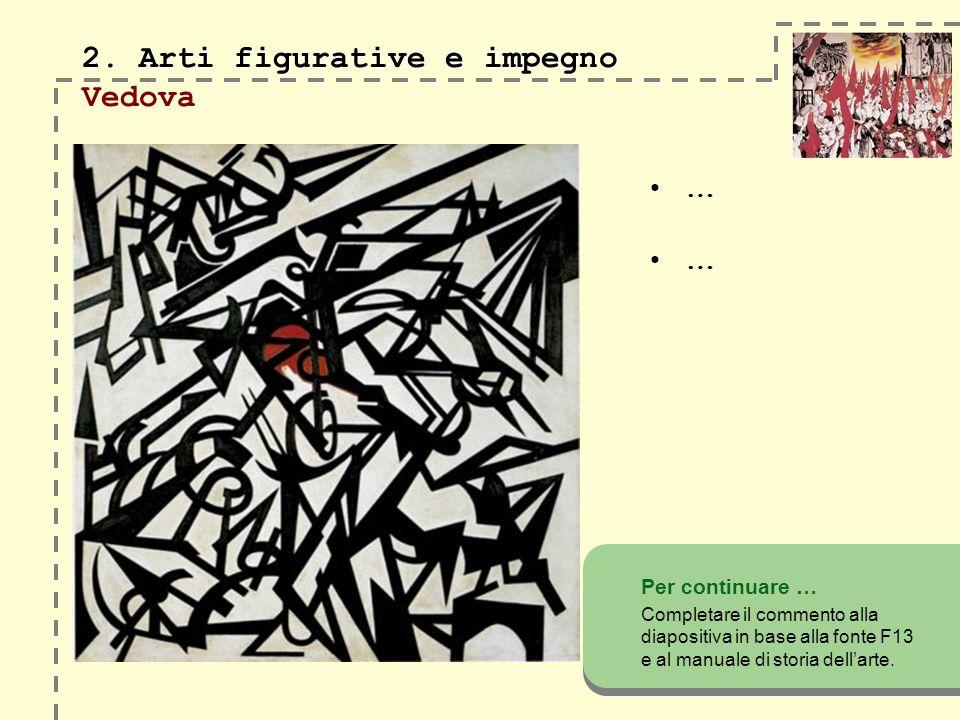 2. Arti figurative e impegno 2. Arti figurative e impegno Vedova … … Per continuare … Completare il commento alla diapositiva in base alla fonte F13 e