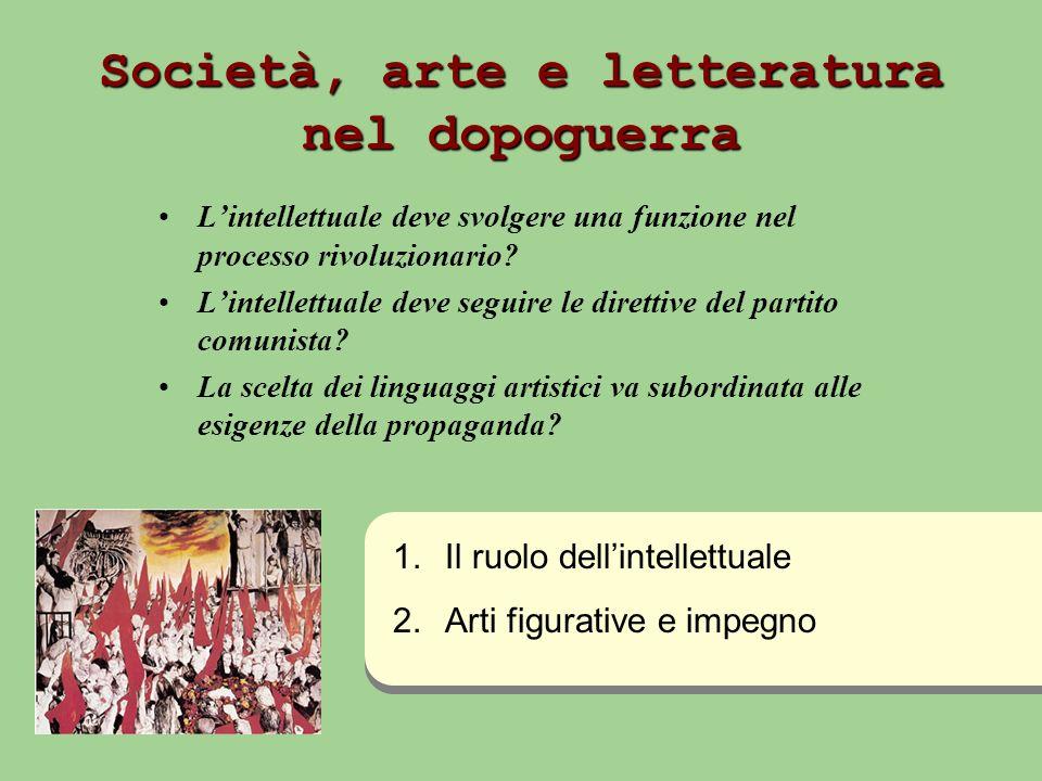 Società, arte e letteratura nel dopoguerra Lintellettuale deve svolgere una funzione nel processo rivoluzionario? Lintellettuale deve seguire le diret