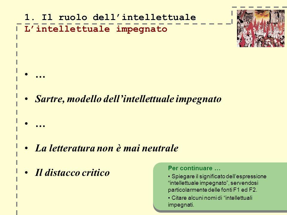 1. Il ruolo dellintellettuale 1. Il ruolo dellintellettuale Lintellettuale impegnato … Sartre, modello dellintellettuale impegnato … La letteratura no