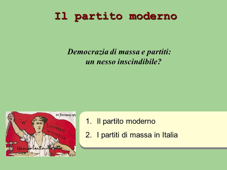 Il partito moderno Democrazia di massa e partiti: un nesso inscindibile? 1. 1.Il partito moderno 2. 2.I partiti di massa in Italia