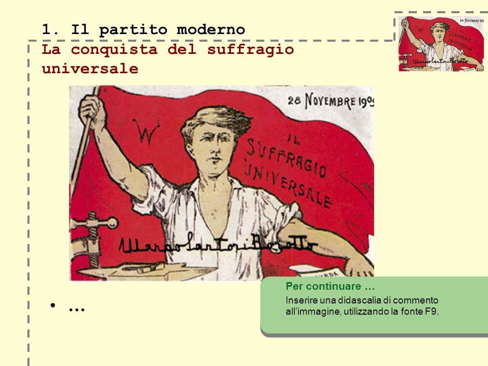 1. Il partito moderno 1. Il partito moderno La conquista del suffragio universale … Per continuare … Inserire una didascalia di commento allimmagine,