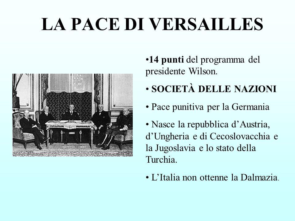 LA PACE DI VERSAILLES 14 punti del programma del presidente Wilson. SOCIETÀ DELLE NAZIONI Pace punitiva per la Germania Nasce la repubblica dAustria,