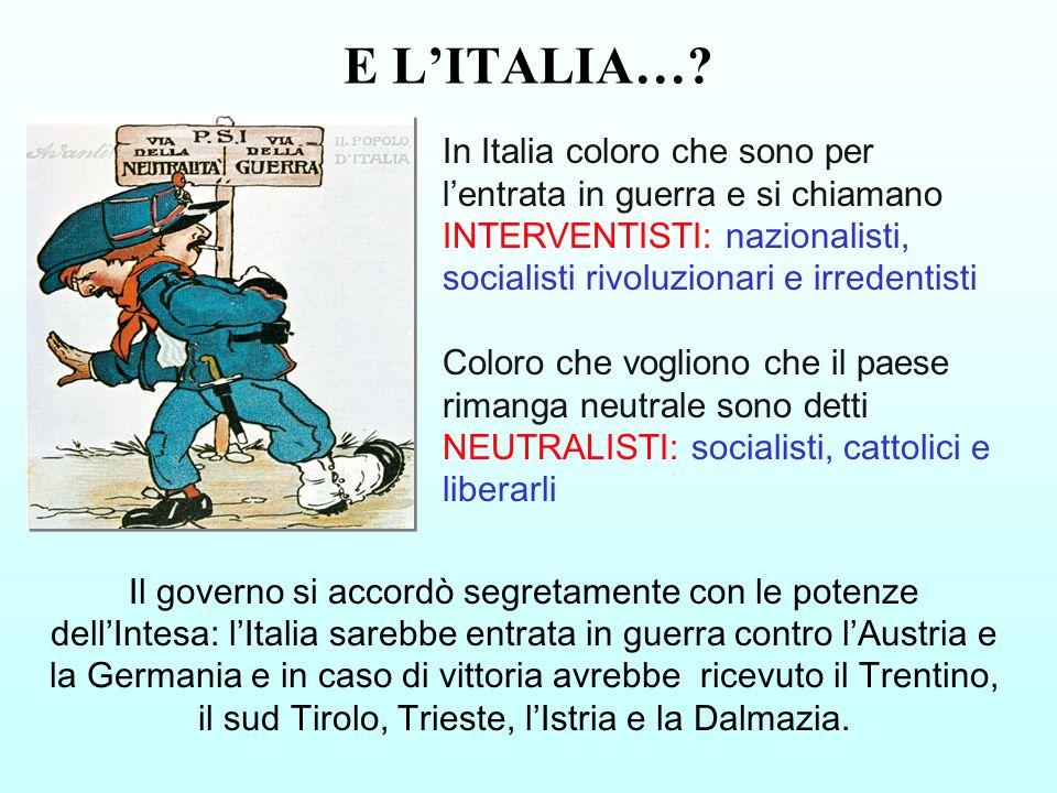 In Italia coloro che sono per lentrata in guerra e si chiamano INTERVENTISTI: nazionalisti, socialisti rivoluzionari e irredentisti Coloro che voglion