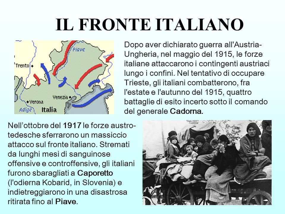 IL FRONTE ITALIANO Dopo aver dichiarato guerra all'Austria- Ungheria, nel maggio del 1915, le forze italiane attaccarono i contingenti austriaci lungo