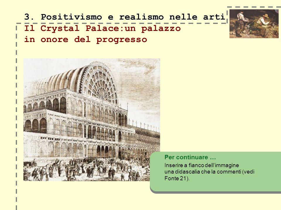 3. Positivismo e realismo nelle arti 3. Positivismo e realismo nelle arti Il Crystal Palace:un palazzo in onore del progresso Per continuare … Inserir