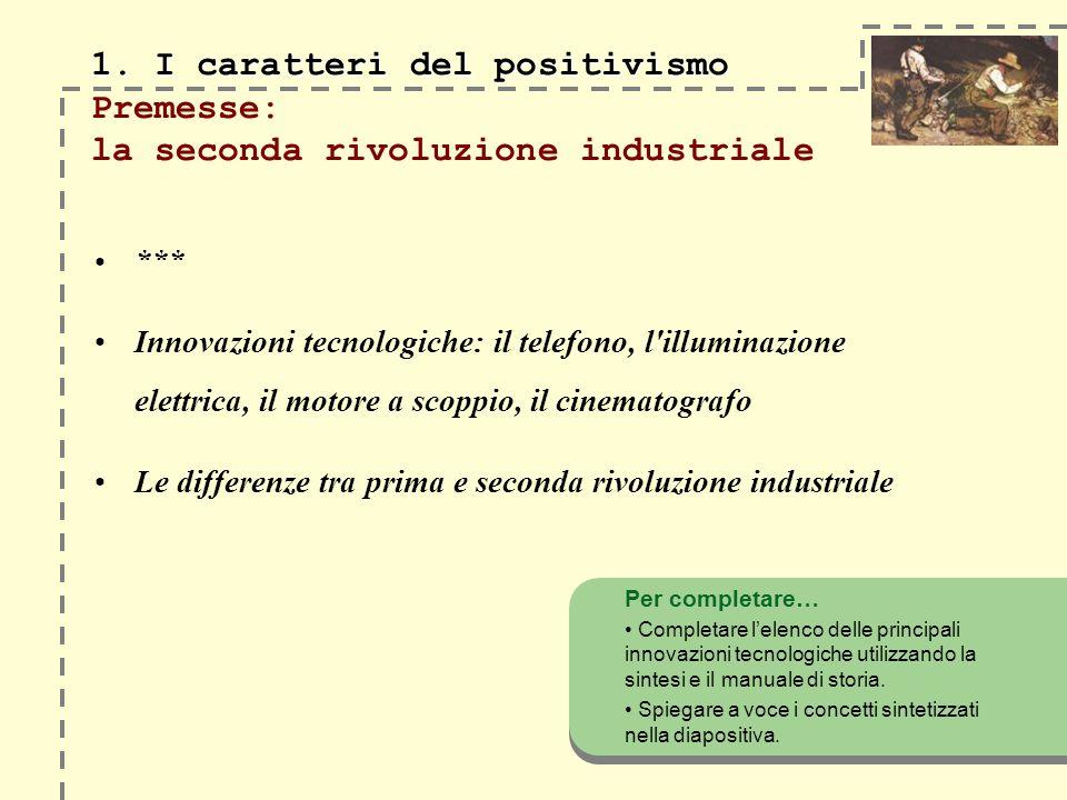 1. I caratteri del positivismo 1. I caratteri del positivismo Premesse: la seconda rivoluzione industriale *** Innovazioni tecnologiche: il telefono,
