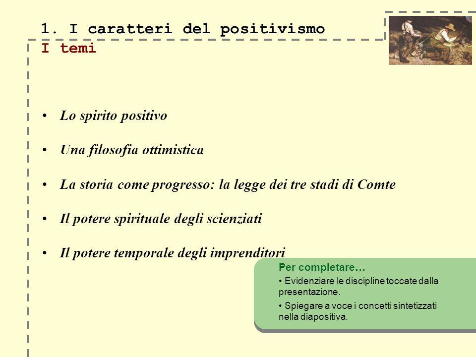1. I caratteri del positivismo 1. I caratteri del positivismo I temi Lo spirito positivo Una filosofia ottimistica La storia come progresso: la legge