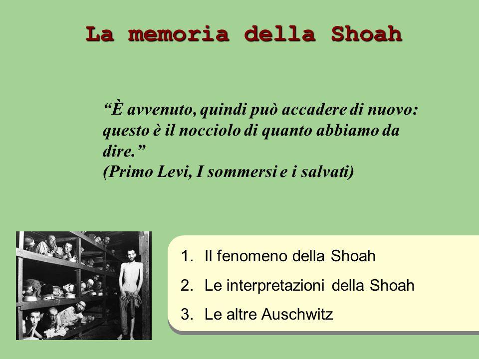 I luoghi: … I tempi:… Le vittime: … I carnefici: … Per completare… Con laiuto del manuale di storia, presentare i tratti essenziali del fenomeno storico della Shoah.