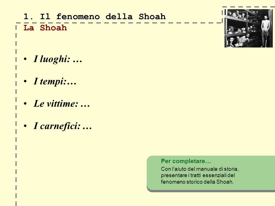 1.Il fenomeno della Shoah 1. Il fenomeno della Shoah Lantisemitismo … …..