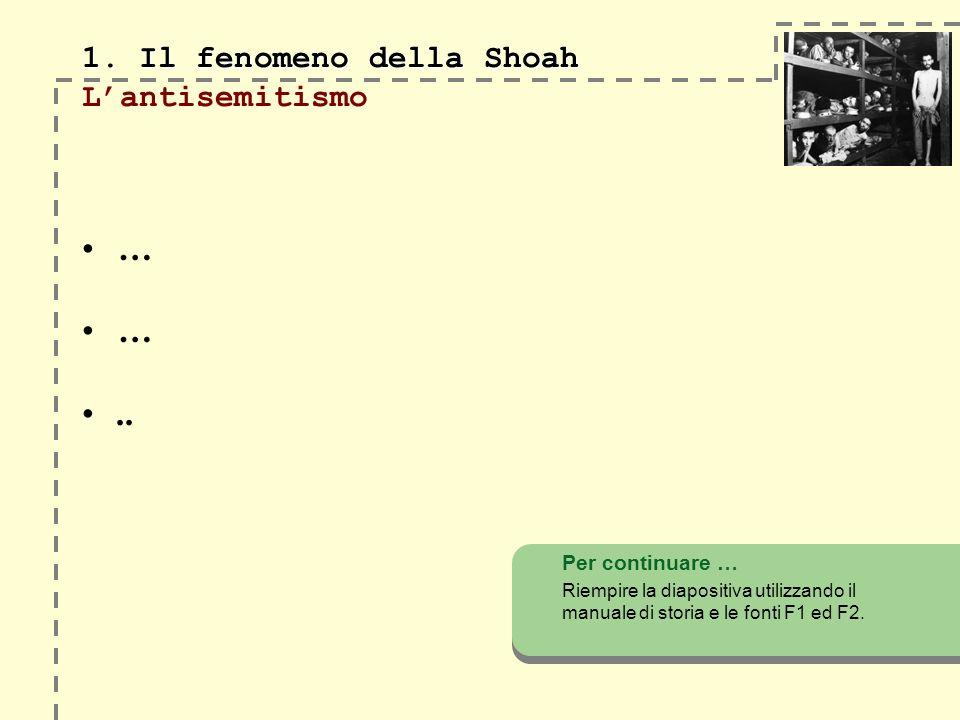 1. Il fenomeno della Shoah 1. Il fenomeno della Shoah Lantisemitismo … …..