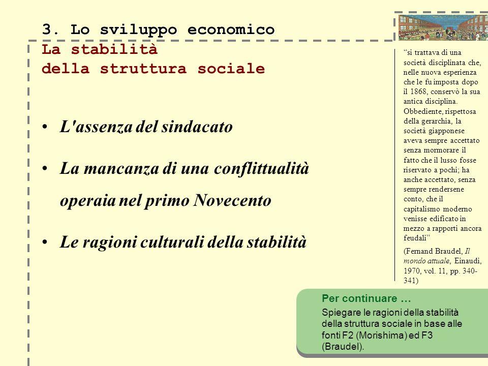 3. Lo sviluppo economico 3. Lo sviluppo economico La stabilità della struttura sociale L'assenza del sindacato La mancanza di una conflittualità opera