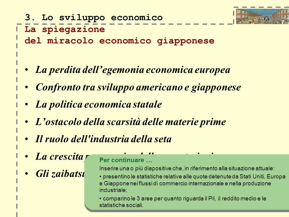 3. Lo sviluppo economico 3. Lo sviluppo economico La spiegazione del miracolo economico giapponese La perdita dellegemonia economica europea Confronto
