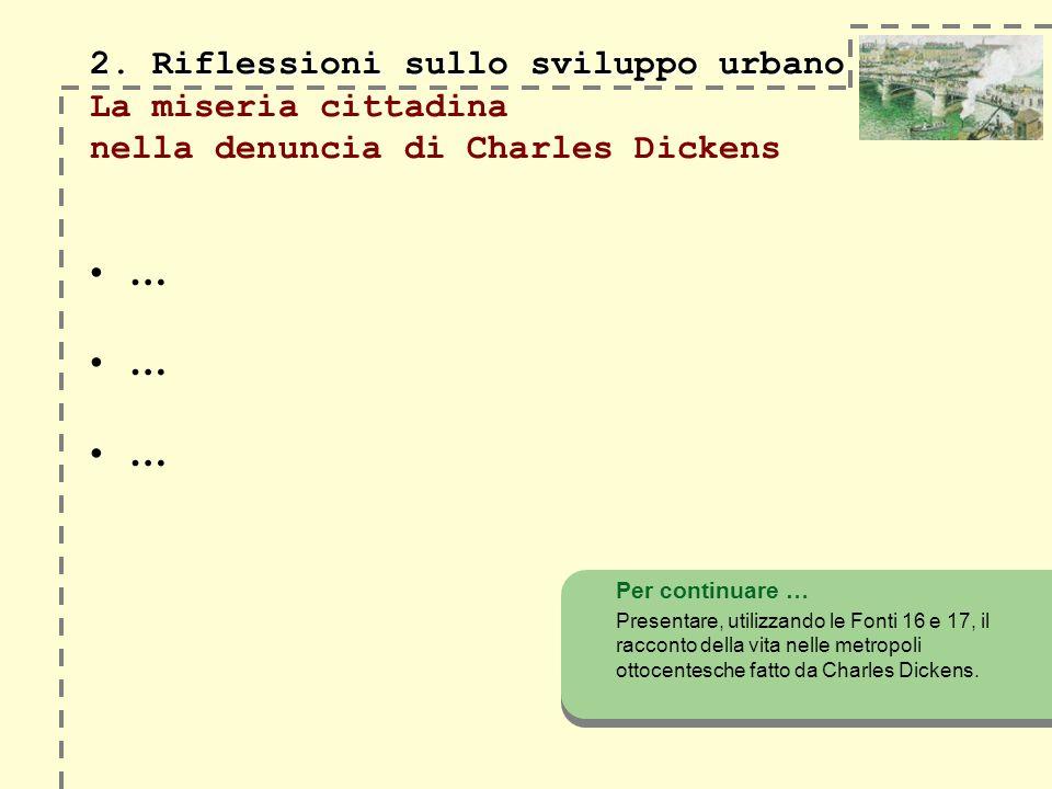 2. Riflessioni sullo sviluppo urbano 2. Riflessioni sullo sviluppo urbano La miseria cittadina nella denuncia di Charles Dickens … Per continuare … Pr