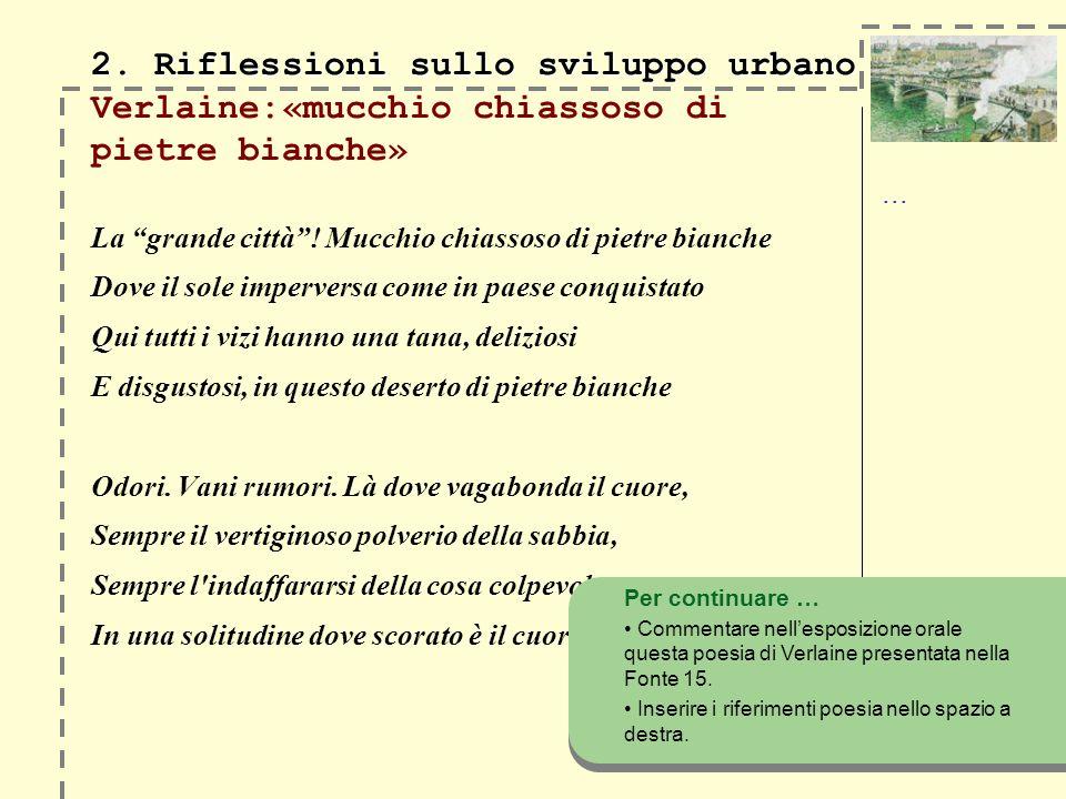 2. Riflessioni sullo sviluppo urbano 2. Riflessioni sullo sviluppo urbano Verlaine:«mucchio chiassoso di pietre bianche» La grande città! Mucchio chia
