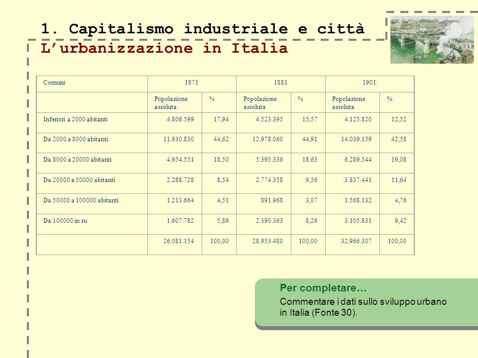 1. Capitalismo industriale e città 1. Capitalismo industriale e città Lurbanizzazione in Italia Per completare… Commentare i dati sullo sviluppo urban