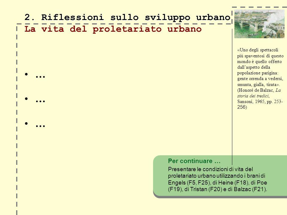 2. Riflessioni sullo sviluppo urbano 2. Riflessioni sullo sviluppo urbano La vita del proletariato urbano … Per continuare … Presentare le condizioni