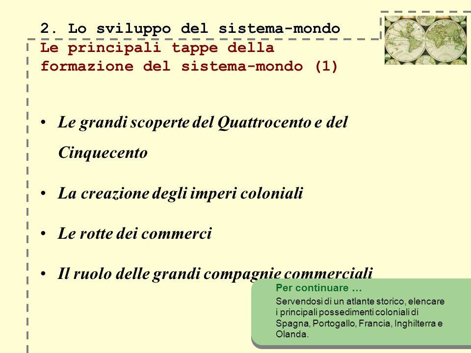 2. Lo sviluppo del sistema-mondo 2. Lo sviluppo del sistema-mondo Le principali tappe della formazione del sistema-mondo (1) Le grandi scoperte del Qu