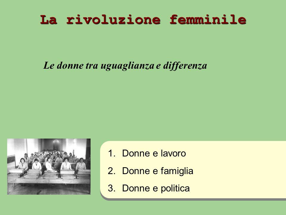 La rivoluzione femminile Le donne tra uguaglianza e differenza 1.